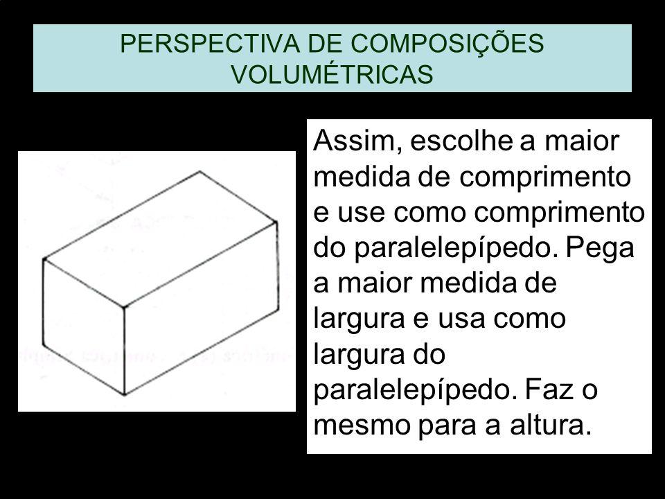 PERSPECTIVA DE COMPOSIÇÕES VOLUMÉTRICAS Assim, escolhe a maior medida de comprimento e use como comprimento do paralelepípedo. Pega a maior medida de