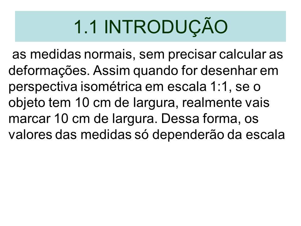 1.1 INTRODUÇÃO as medidas normais, sem precisar calcular as deformações. Assim quando for desenhar em perspectiva isométrica em escala 1:1, se o objet