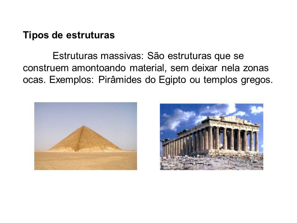 Tipos de estruturas Estruturas massivas: São estruturas que se construem amontoando material, sem deixar nela zonas ocas. Exemplos: Pirâmides do Egipt