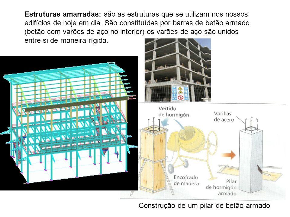 Estruturas amarradas: são as estruturas que se utilizam nos nossos edifícios de hoje em dia. São constituídas por barras de betão armado (betão com va