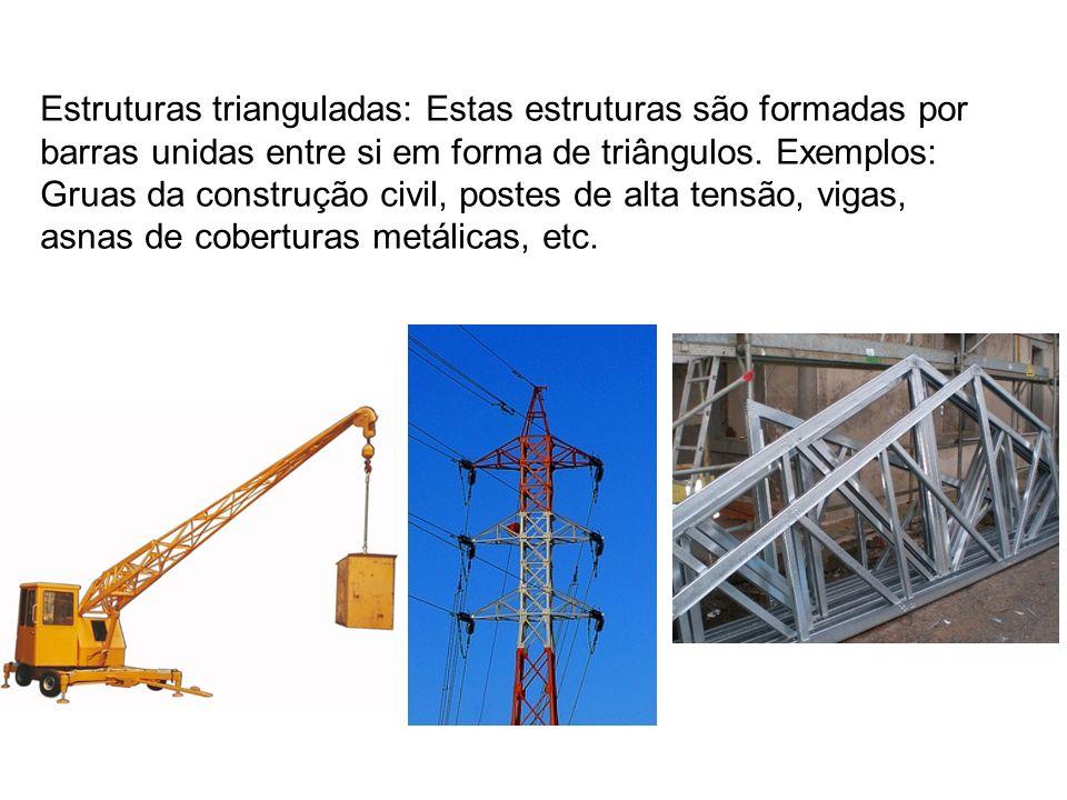 Estruturas trianguladas: Estas estruturas são formadas por barras unidas entre si em forma de triângulos. Exemplos: Gruas da construção civil, postes