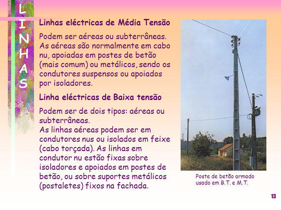13 Linhas eléctricas de Média Tensão Podem ser aéreas ou subterrâneas. As aéreas são normalmente em cabo nu, apoiadas em postes de betão (mais comum)