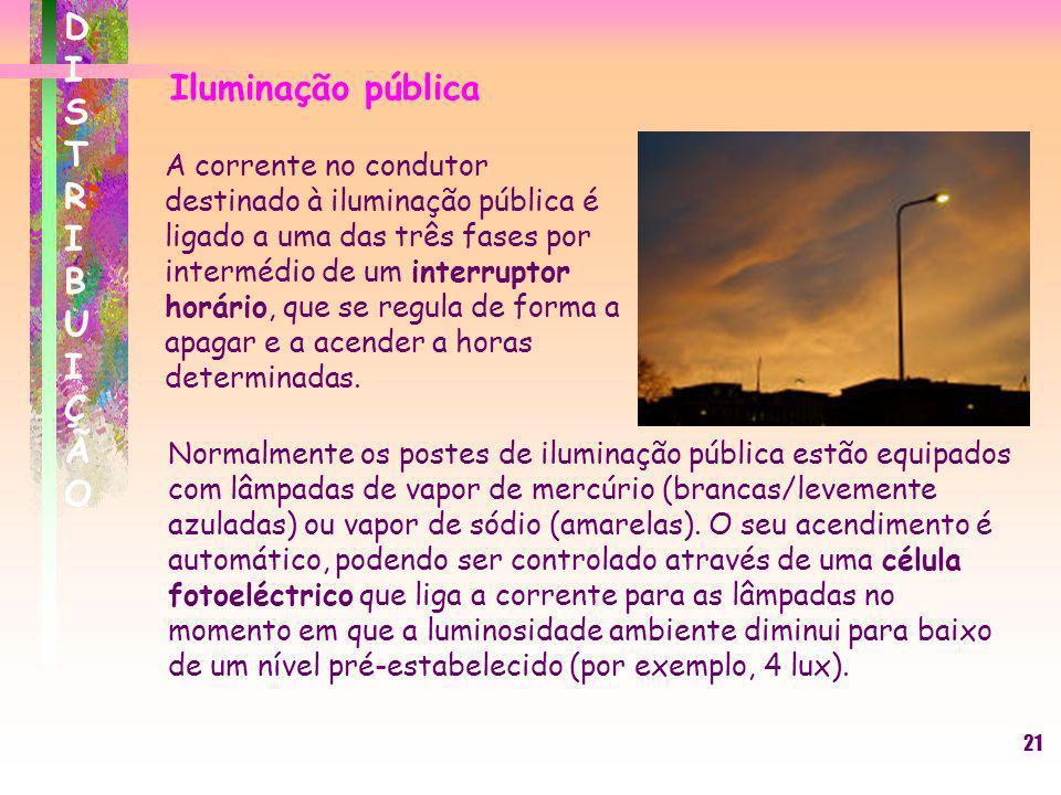 21 DISTRIBUIÇÃODISTRIBUIÇÃO Iluminação pública A corrente no condutor destinado à iluminação pública é ligado a uma das três fases por intermédio de u