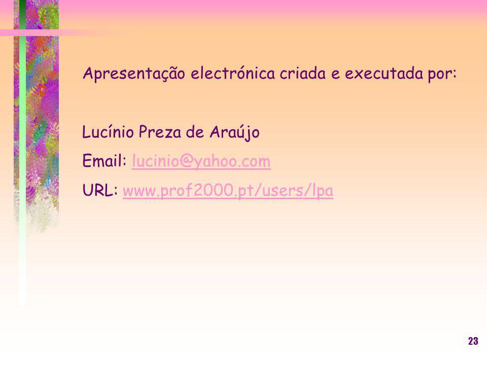 23 Apresentação electrónica criada e executada por: Lucínio Preza de Araújo Email: lucinio@yahoo.comlucinio@yahoo.com URL: www.prof2000.pt/users/lpaww