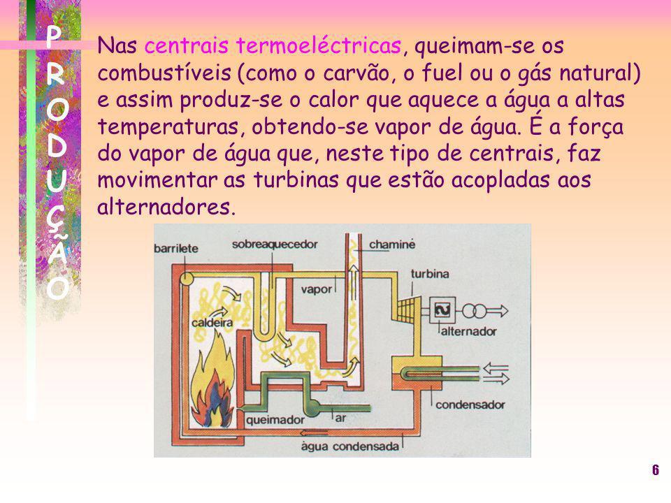 6 Nas centrais termoeléctricas, queimam-se os combustíveis (como o carvão, o fuel ou o gás natural) e assim produz-se o calor que aquece a água a alta