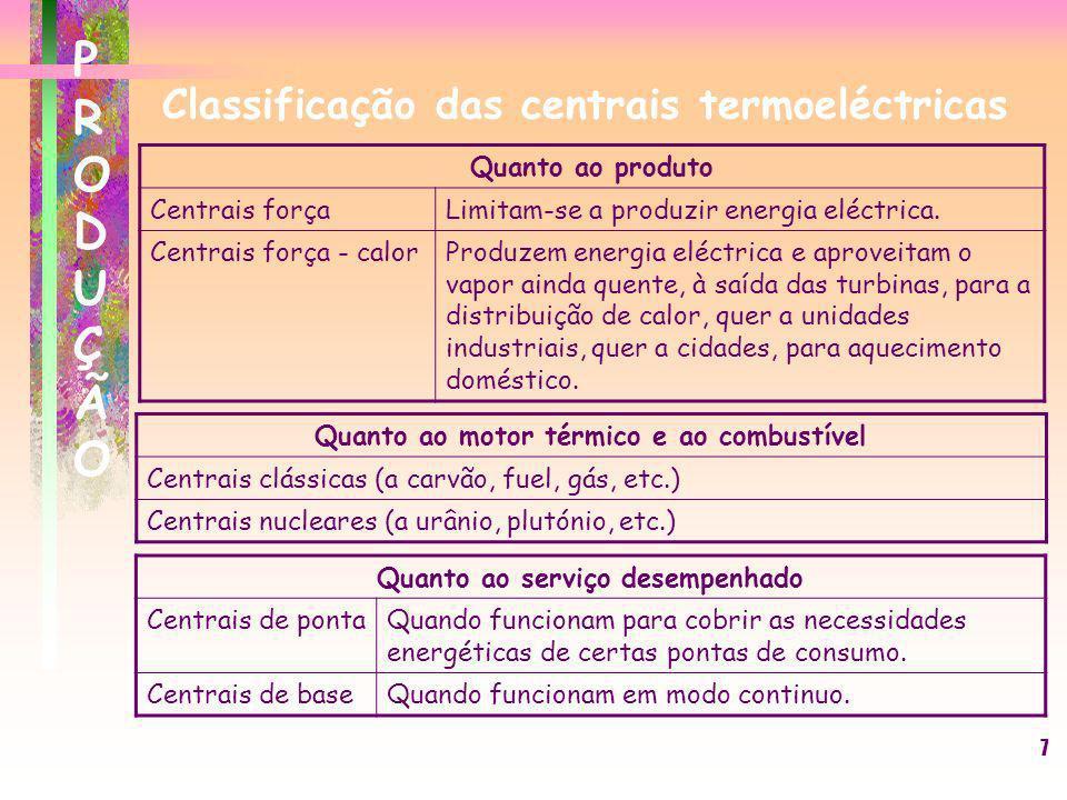 7 Classificação das centrais termoeléctricas Quanto ao motor térmico e ao combustível Centrais clássicas (a carvão, fuel, gás, etc.) Centrais nucleare