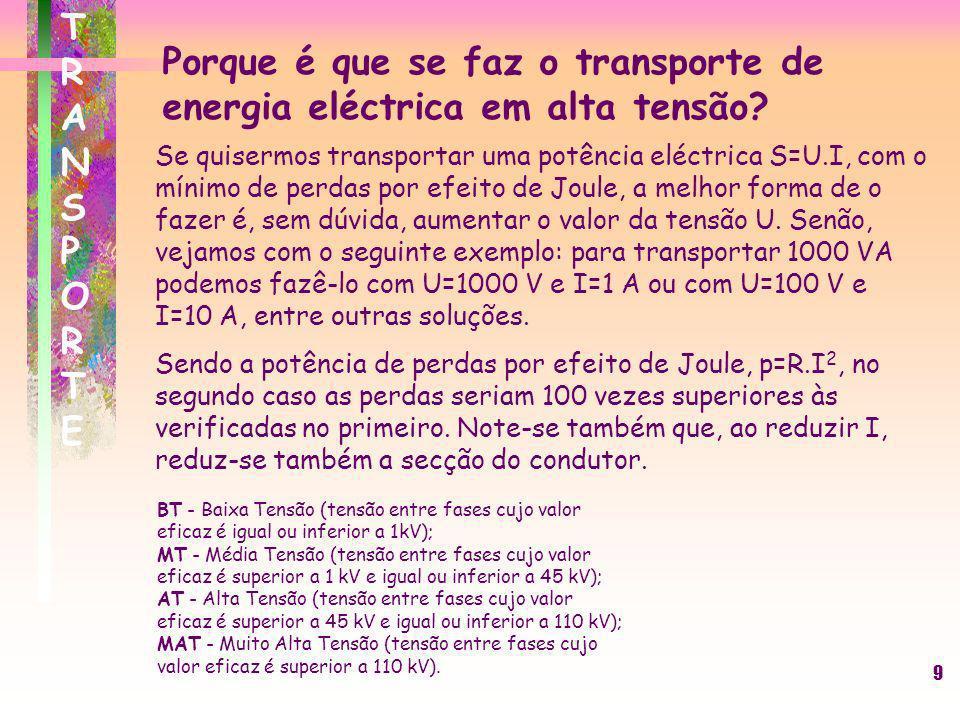 9 TRANSPORTETRANSPORTE Se quisermos transportar uma potência eléctrica S=U.I, com o mínimo de perdas por efeito de Joule, a melhor forma de o fazer é,