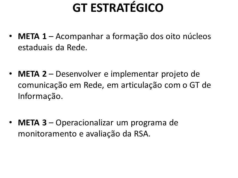 GT ESTRATÉGICO META 1 – Acompanhar a formação dos oito núcleos estaduais da Rede. META 2 – Desenvolver e implementar projeto de comunicação em Rede, e