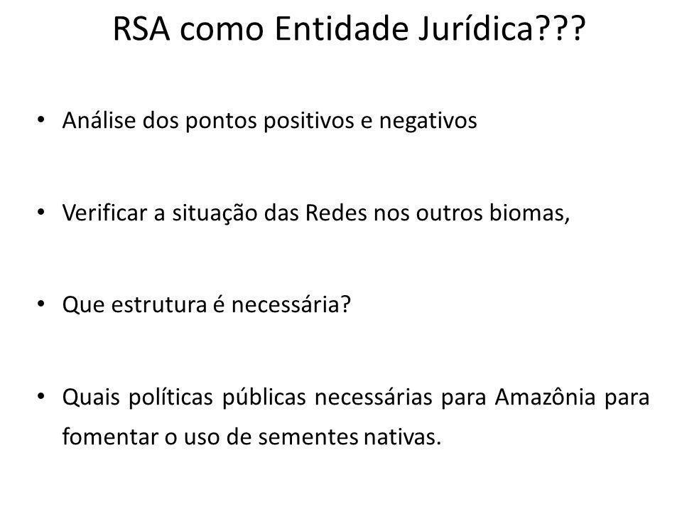 RSA como Entidade Jurídica??? Análise dos pontos positivos e negativos Verificar a situação das Redes nos outros biomas, Que estrutura é necessária? Q