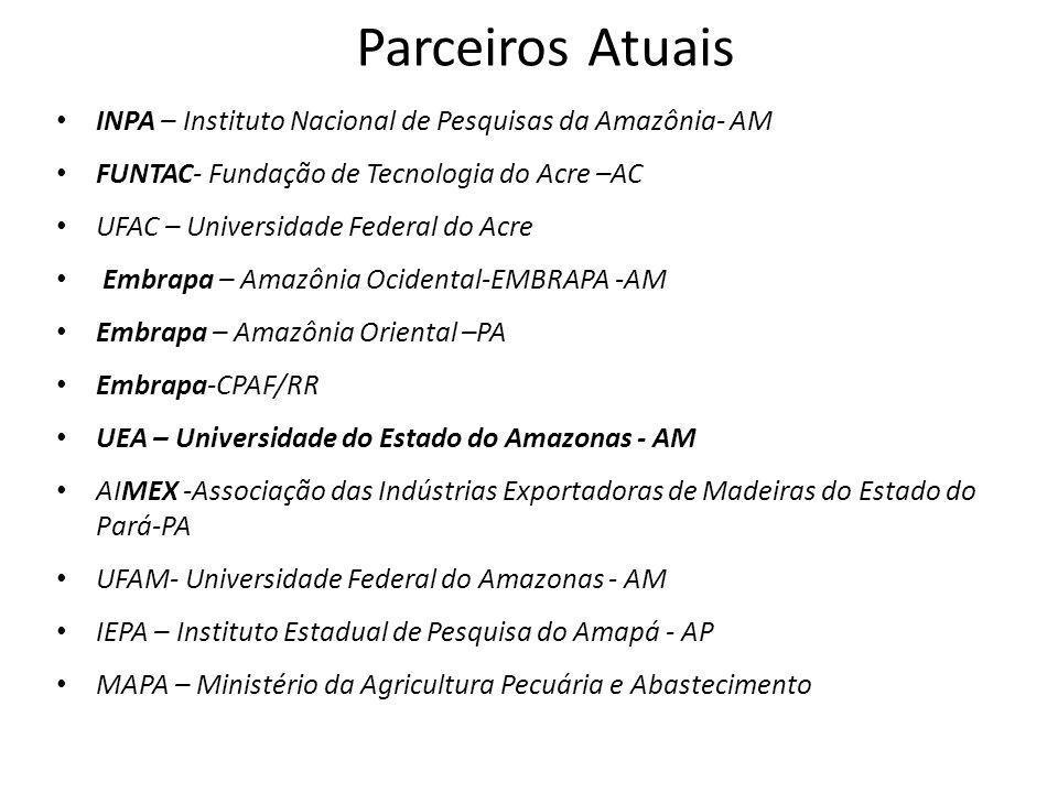 Parceiros Atuais INPA – Instituto Nacional de Pesquisas da Amazônia- AM FUNTAC- Fundação de Tecnologia do Acre –AC UFAC – Universidade Federal do Acre