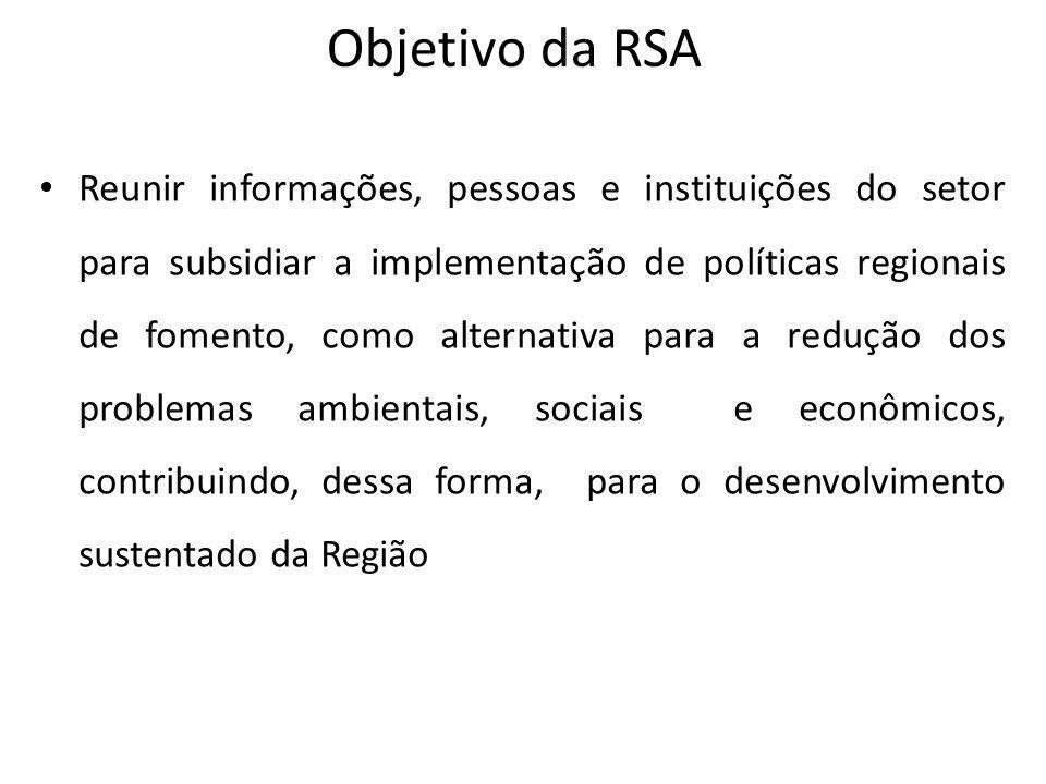 Objetivo da RSA Reunir informações, pessoas e instituições do setor para subsidiar a implementação de políticas regionais de fomento, como alternativa