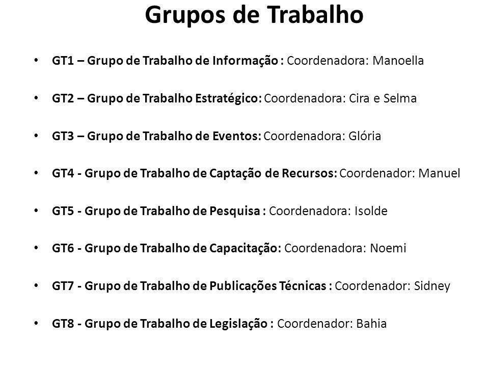 Grupos de Trabalho GT1 – Grupo de Trabalho de Informação : Coordenadora: Manoella GT2 – Grupo de Trabalho Estratégico: Coordenadora: Cira e Selma GT3