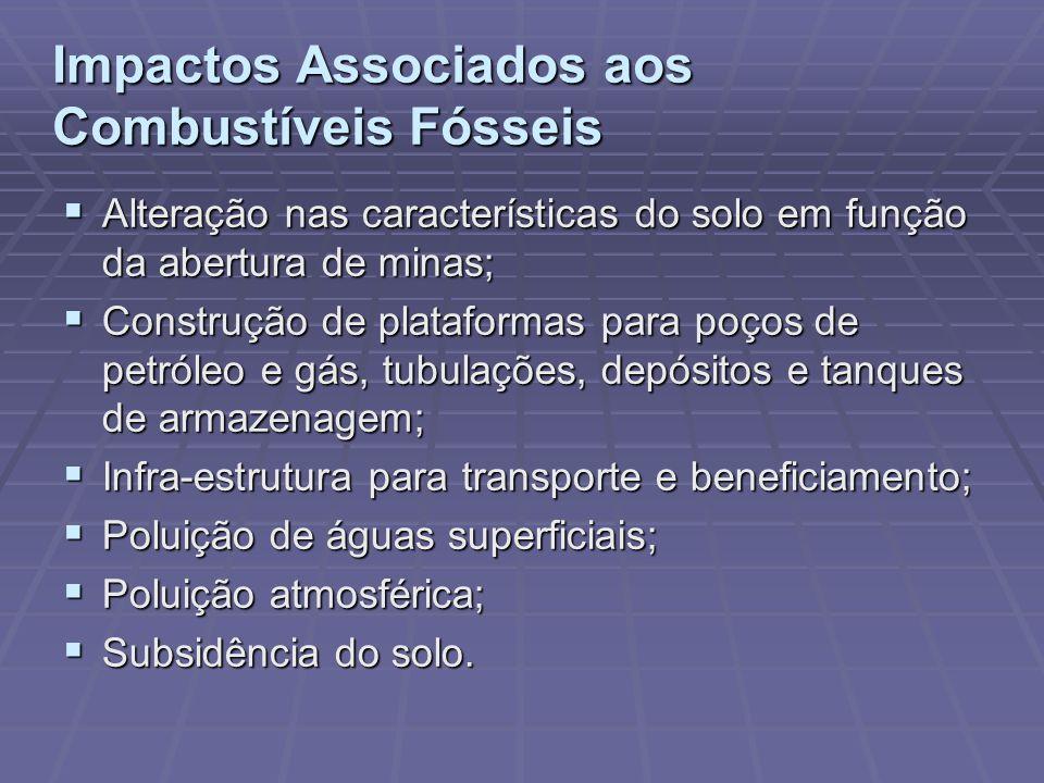 Impactos Associados aos Combustíveis Fósseis Alteração nas características do solo em função da abertura de minas; Alteração nas características do so