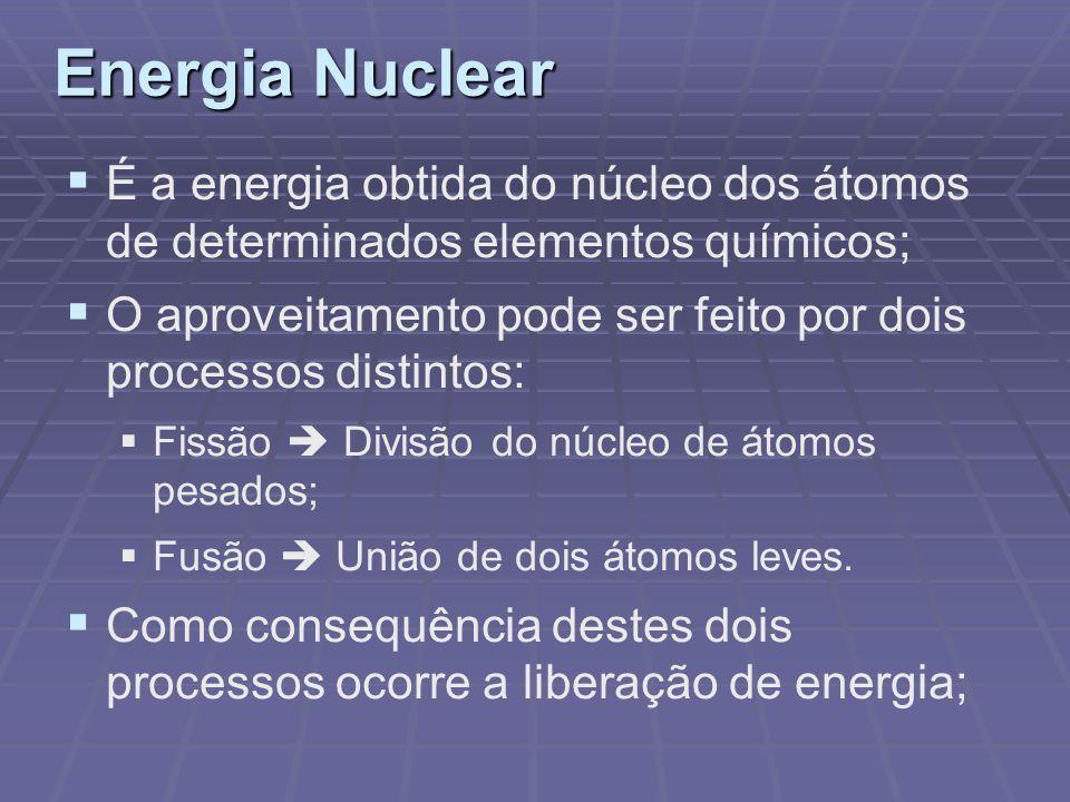 Energia Nuclear É a energia obtida do núcleo dos átomos de determinados elementos químicos; O aproveitamento pode ser feito por dois processos distint
