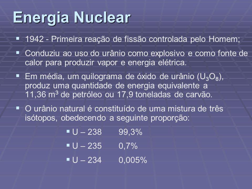 Energia Nuclear 1942 - Primeira reação de fissão controlada pelo Homem; Conduziu ao uso do urânio como explosivo e como fonte de calor para produzir v