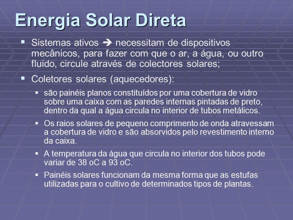 Energia Solar Direta Sistemas ativos necessitam de dispositivos mecânicos, para fazer com que o ar, a água, ou outro fluido, circule através de colect