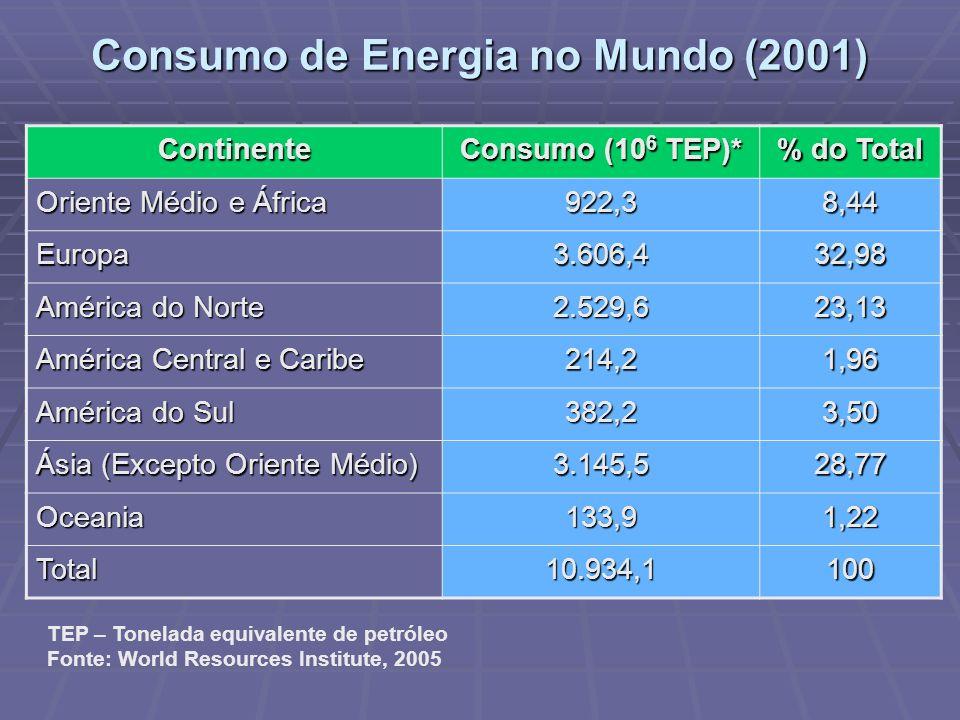 Consumo de Energia no Mundo (2001) Continente Consumo (10 6 TEP)* % do Total Oriente Médio e África 922,38,44 Europa3.606,432,98 América do Norte 2.52