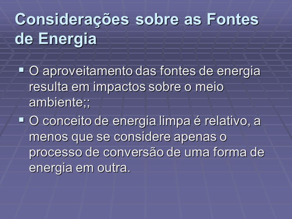 Considerações sobre as Fontes de Energia O aproveitamento das fontes de energia resulta em impactos sobre o meio ambiente;; O aproveitamento das fonte