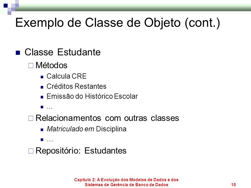 Capítulo 2: A Evolução dos Modelos de Dados e dos Sistemas de Gerência de Banco de Dados10 Exemplo de Classe de Objeto (cont.) Classe Estudante Método