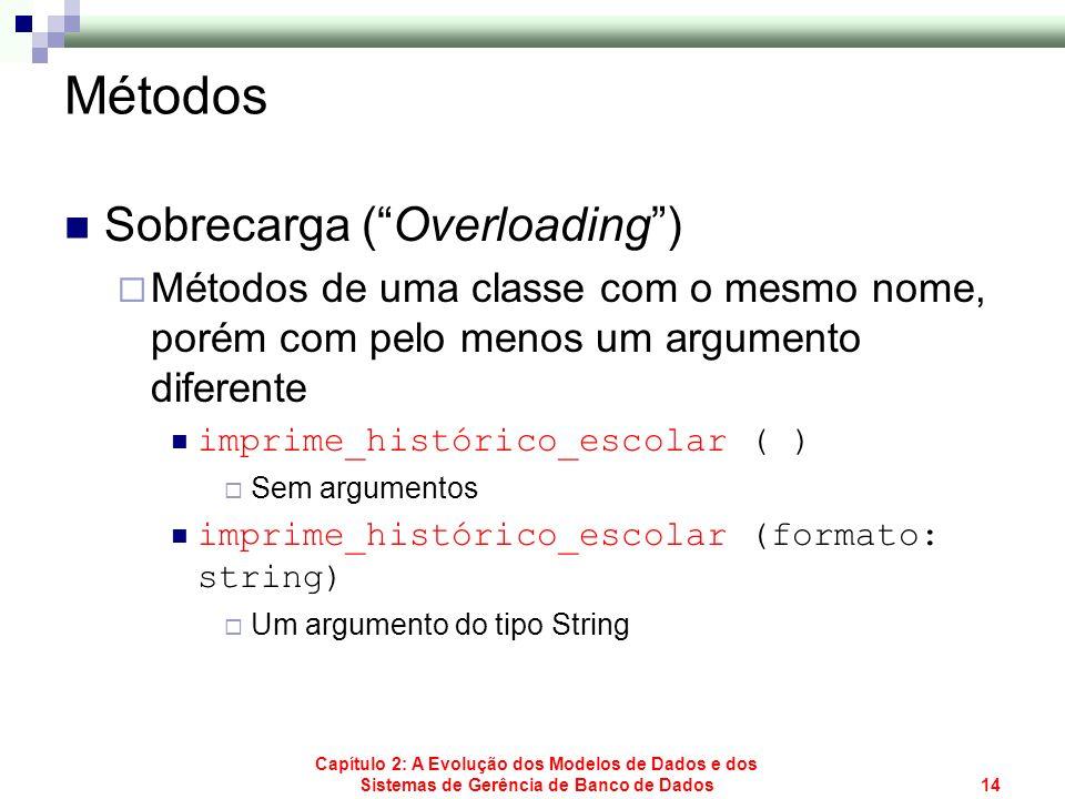 Capítulo 2: A Evolução dos Modelos de Dados e dos Sistemas de Gerência de Banco de Dados14 Métodos Sobrecarga (Overloading) Métodos de uma classe com