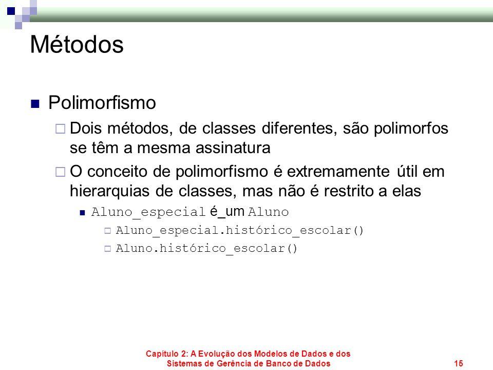 Capítulo 2: A Evolução dos Modelos de Dados e dos Sistemas de Gerência de Banco de Dados15 Métodos Polimorfismo Dois métodos, de classes diferentes, s