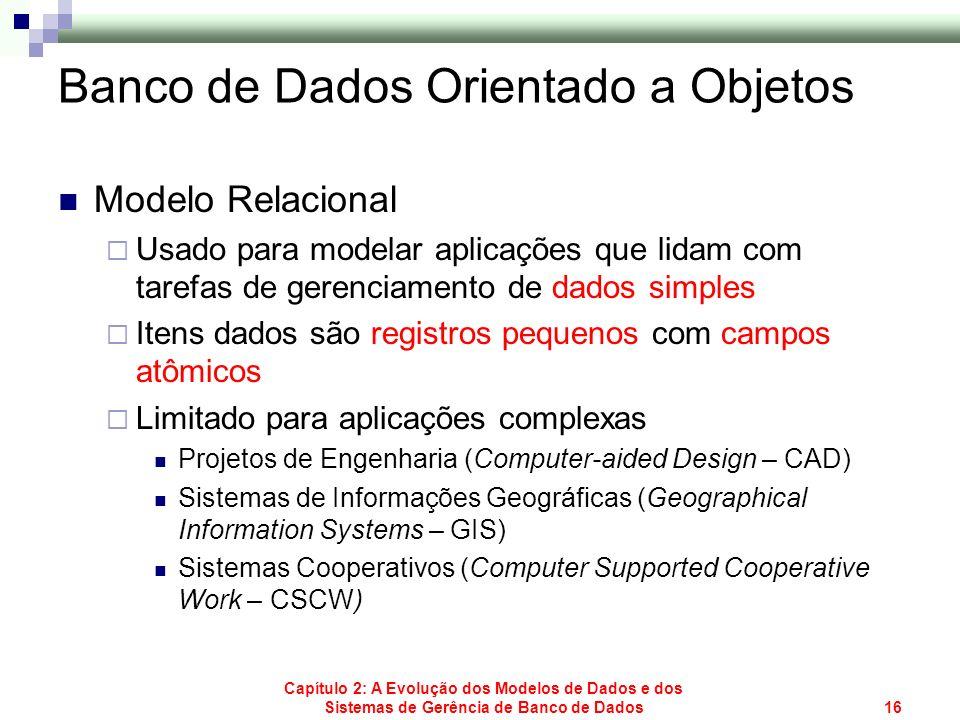 Capítulo 2: A Evolução dos Modelos de Dados e dos Sistemas de Gerência de Banco de Dados16 Banco de Dados Orientado a Objetos Modelo Relacional Usado
