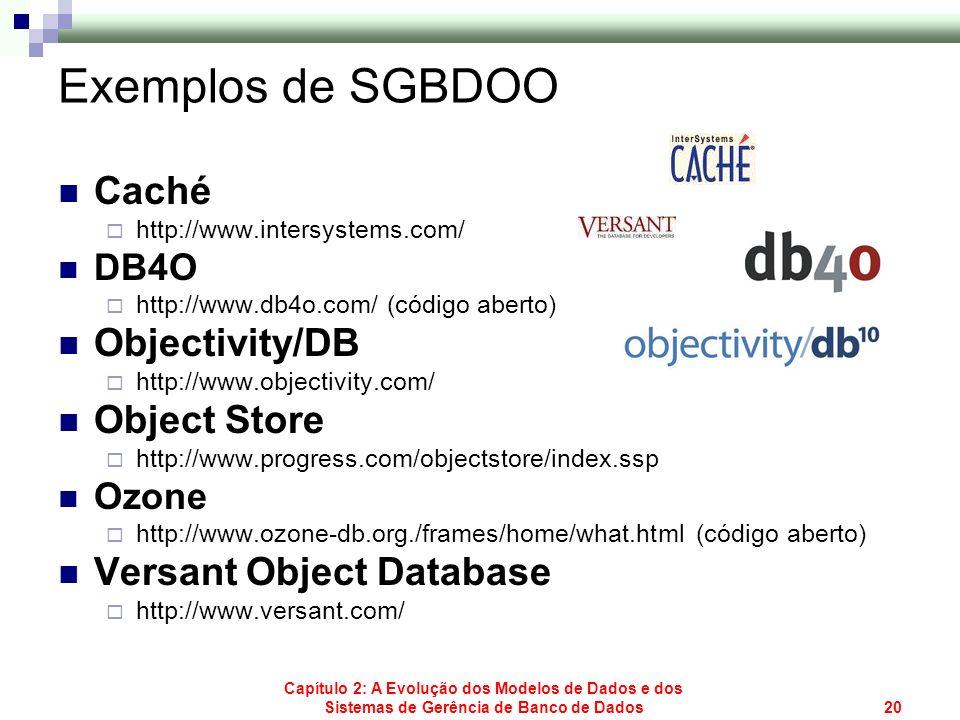 Capítulo 2: A Evolução dos Modelos de Dados e dos Sistemas de Gerência de Banco de Dados20 Exemplos de SGBDOO Caché http://www.intersystems.com/ DB4O