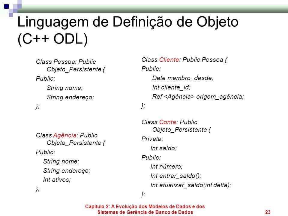 Capítulo 2: A Evolução dos Modelos de Dados e dos Sistemas de Gerência de Banco de Dados23 Linguagem de Definição de Objeto (C++ ODL) Class Pessoa: Pu