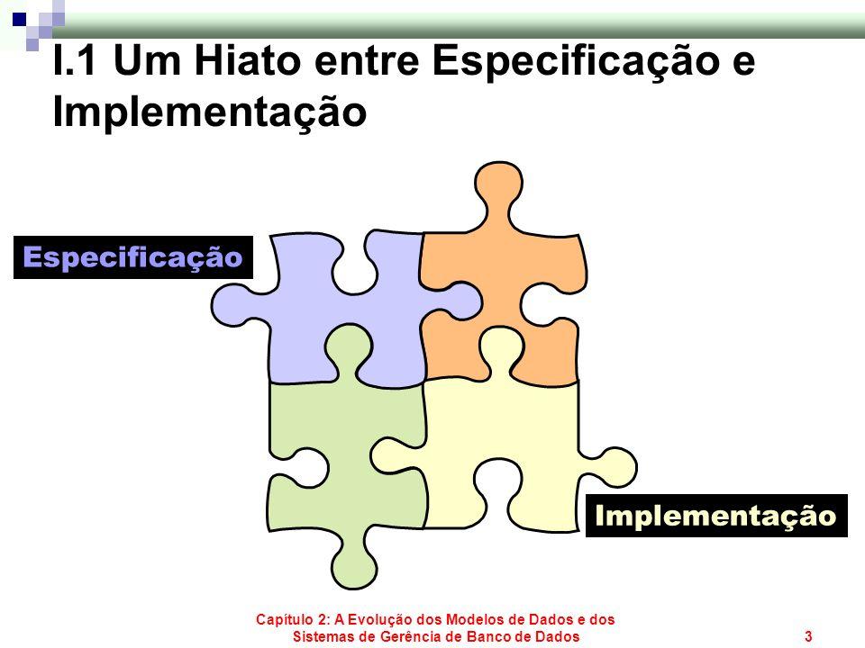 Capítulo 2: A Evolução dos Modelos de Dados e dos Sistemas de Gerência de Banco de Dados3 Especificação Implementação I.1 Um Hiato entre Especificação