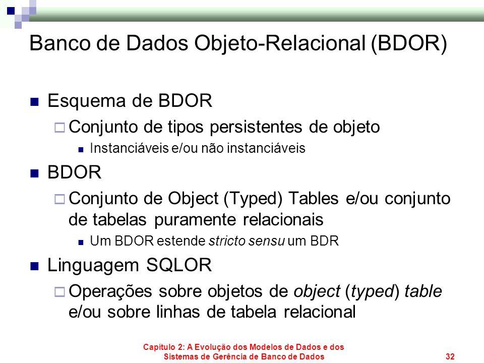 Capítulo 2: A Evolução dos Modelos de Dados e dos Sistemas de Gerência de Banco de Dados32 Banco de Dados Objeto-Relacional (BDOR) Esquema de BDOR Con