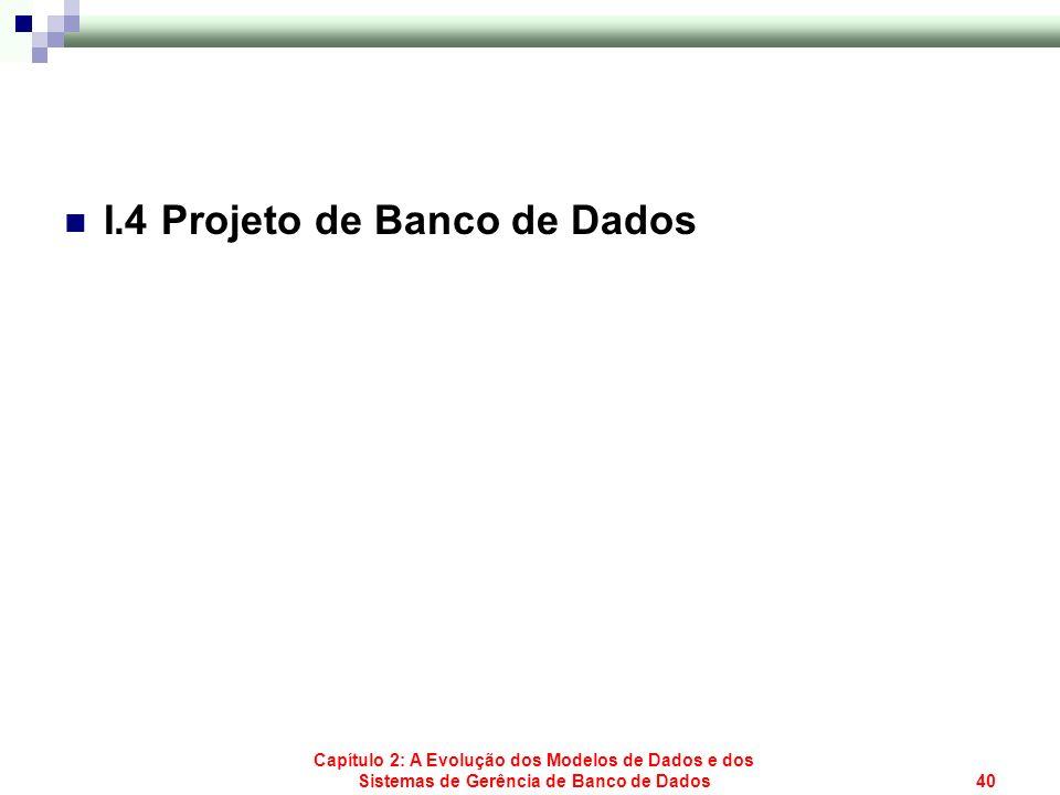 Capítulo 2: A Evolução dos Modelos de Dados e dos Sistemas de Gerência de Banco de Dados40 I.4 Projeto de Banco de Dados