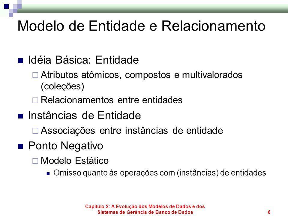Capítulo 2: A Evolução dos Modelos de Dados e dos Sistemas de Gerência de Banco de Dados47 Limitações da Representação Relacional SELECT DISTINCT C.NOME, C.RUA, C.CIDADE, C.ESTADO, C.CEP, M.CODMER, M.PRECO FROM PEDIDO P, CLIENTE C, ITEM_PEDIDO I, MERCADORIA M WHERE C.CODCLI = P.CODCLI AND P.CODPED = I.CODPED AND I.CODMER = M.CODMER AND P.DATA_ENTREGA = 10/08/2004 Para todos os pedidos com data de entrega igual 10/08/2004, obtenha o nome e endereço do cliente, código e preço das mercadorias pedidas