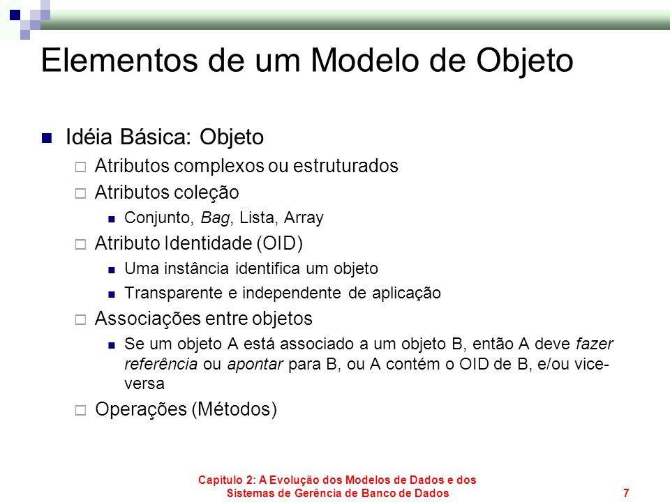 Capítulo 2: A Evolução dos Modelos de Dados e dos Sistemas de Gerência de Banco de Dados8 Classe de Objetos Atributos e associações comuns a um conjunto de objetos Atributo(s) chave Relacionamentos entre classes de objeto Exprimem as associações entre objetos Classe persistente Repositório de objetos da classe