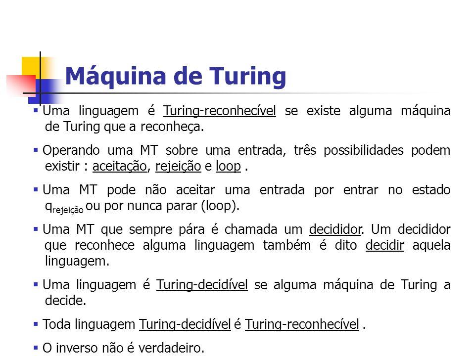 Máquina de Turing Uma linguagem é Turing-reconhecível se existe alguma máquina de Turing que a reconheça. Operando uma MT sobre uma entrada, três poss