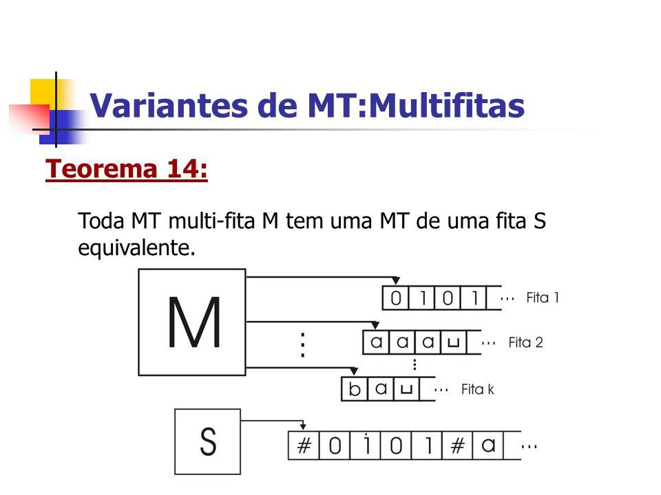 Variantes de MT:Multifitas Teorema 14: Toda MT multi-fita M tem uma MT de uma fita S equivalente.