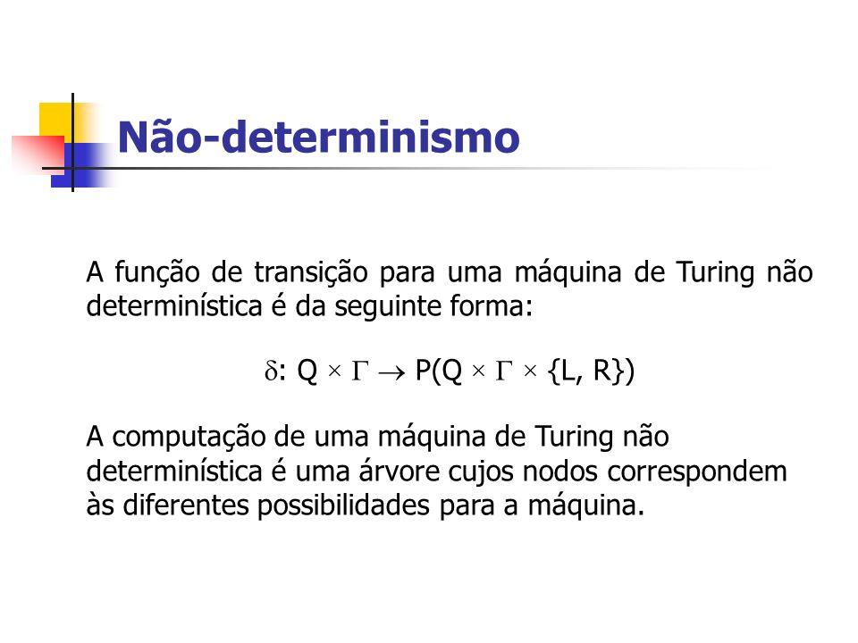 Não-determinismo A função de transição para uma máquina de Turing não determinística é da seguinte forma: : Q × P(Q × × {L, R}) A computação de uma má