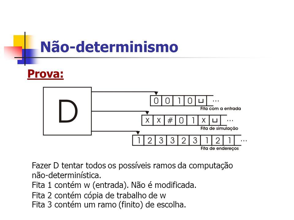 Não-determinismo Prova: Fita 1 contém w (entrada). Não é modificada. Fita 2 contém cópia de trabalho de w Fita 3 contém um ramo (finito) de escolha. F