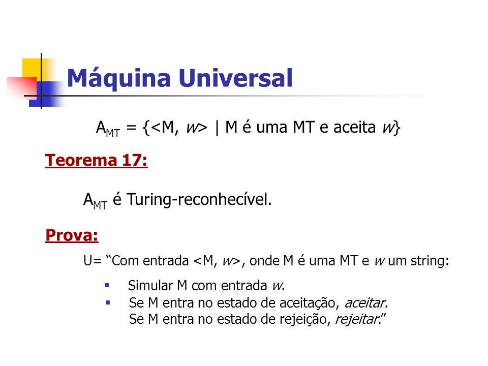 Máquina Universal A MT = { | M é uma MT e aceita w} Teorema 17: A MT é Turing-reconhecível. Prova: U= Com entrada, onde M é uma MT e w um string: Simu