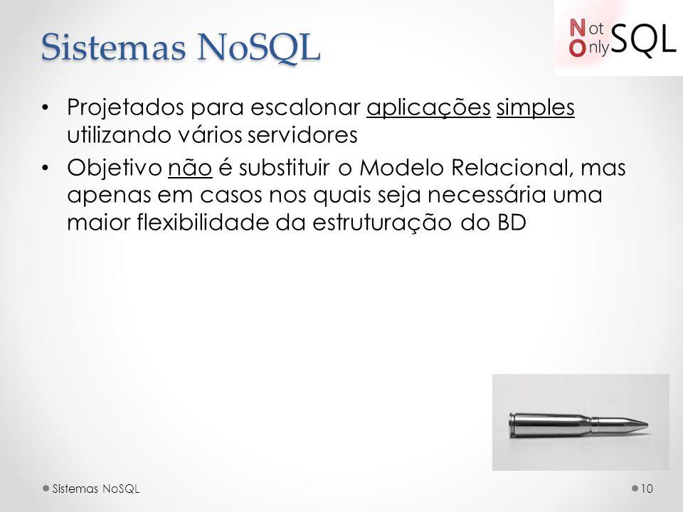 Projetados para escalonar aplicações simples utilizando vários servidores Objetivo não é substituir o Modelo Relacional, mas apenas em casos nos quais