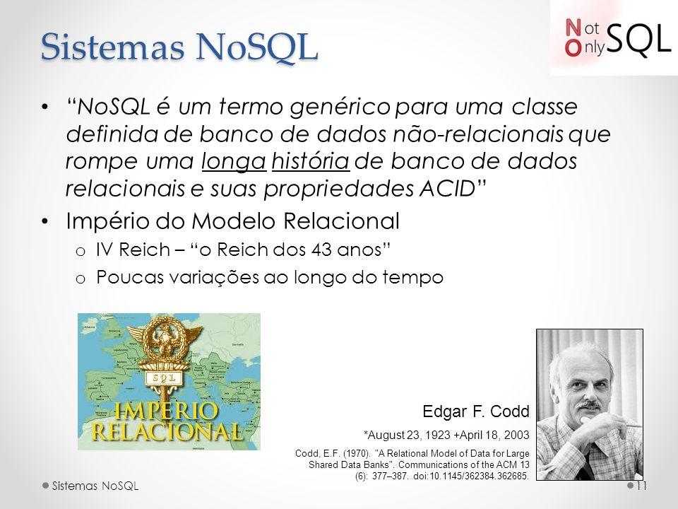 Sistemas NoSQL NoSQL é um termo genérico para uma classe definida de banco de dados não-relacionais que rompe uma longa história de banco de dados rel
