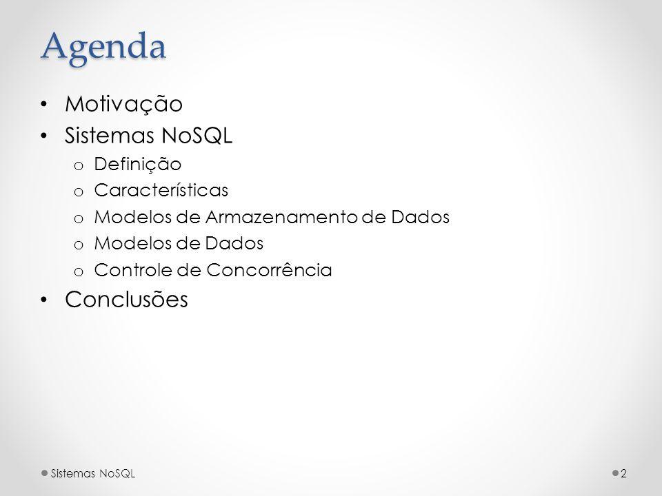 Agenda Motivação Sistemas NoSQL o Definição o Características o Modelos de Armazenamento de Dados o Modelos de Dados o Controle de Concorrência Conclu