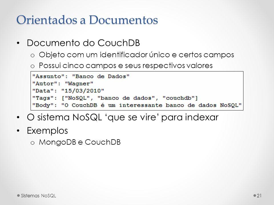 Orientados a Documentos Documento do CouchDB o Objeto com um identificador único e certos campos o Possui cinco campos e seus respectivos valores O si