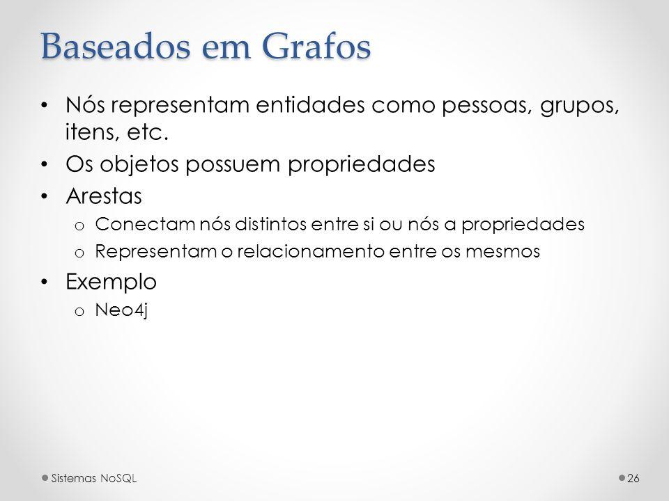 Baseados em Grafos Nós representam entidades como pessoas, grupos, itens, etc. Os objetos possuem propriedades Arestas o Conectam nós distintos entre