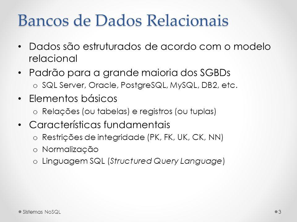Bancos de Dados Relacionais Dados são estruturados de acordo com o modelo relacional Padrão para a grande maioria dos SGBDs o SQL Server, Oracle, Post