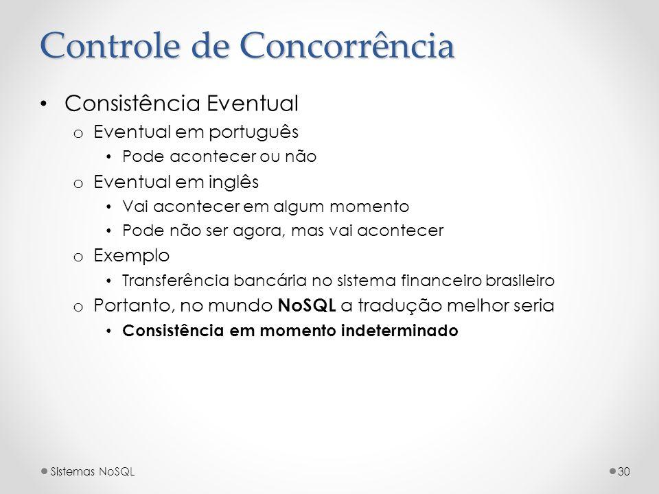 Controle de Concorrência Consistência Eventual o Eventual em português Pode acontecer ou não o Eventual em inglês Vai acontecer em algum momento Pode