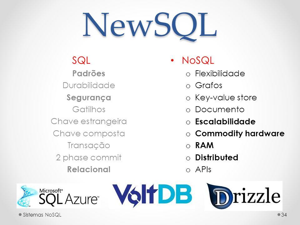 NewSQL SQL Padrões Durabilidade Segurança Gatilhos Chave estrangeira Chave composta Transação 2 phase commit Relacional 34Sistemas NoSQL NoSQL o Flexi