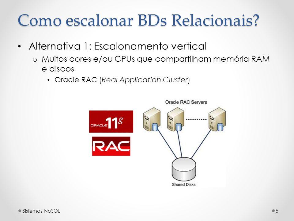 Como escalonar BDs Relacionais? Alternativa 1: Escalonamento vertical o Muitos cores e/ou CPUs que compartilham memória RAM e discos Oracle RAC (Real