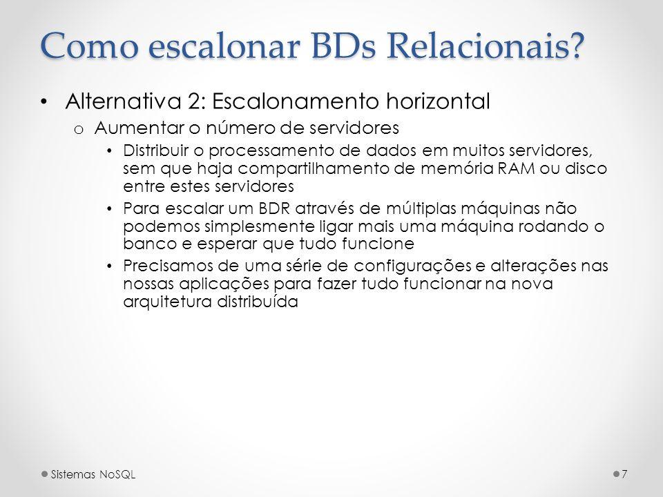 Como escalonar BDs Relacionais? Alternativa 2: Escalonamento horizontal o Aumentar o número de servidores Distribuir o processamento de dados em muito