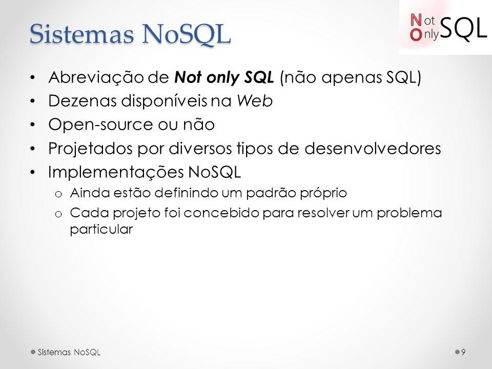 Sistemas NoSQL Abreviação de Not only SQL (não apenas SQL) Dezenas disponíveis na Web Open-source ou não Projetados por diversos tipos de desenvolvedo