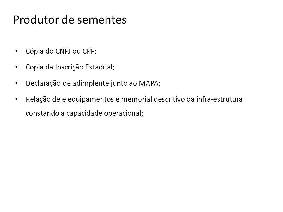 Produtor de sementes Cópia do CNPJ ou CPF; Cópia da Inscrição Estadual; Declaração de adimplente junto ao MAPA; Relação de e equipamentos e memorial d